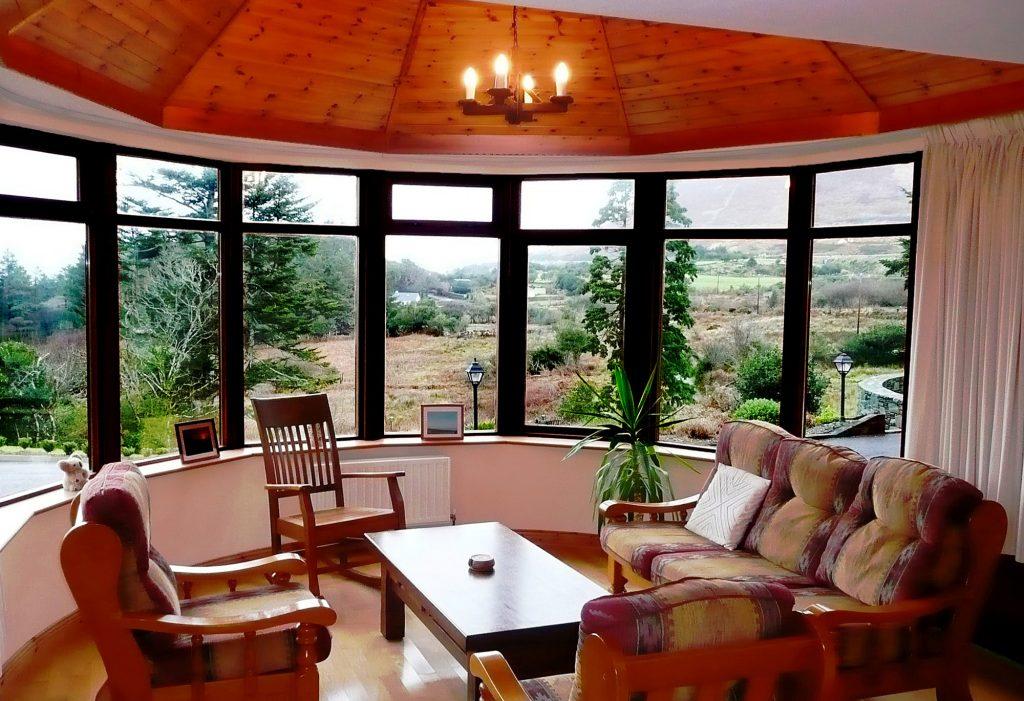 Ferienhaus, Kerry, Irland, Dellwood Lodge, Wintergarten, Ferienhäuser mit Meerblick mieten in Irland - Cottages mit Seeblick mieten entlang des Ring of Kerry in Irland