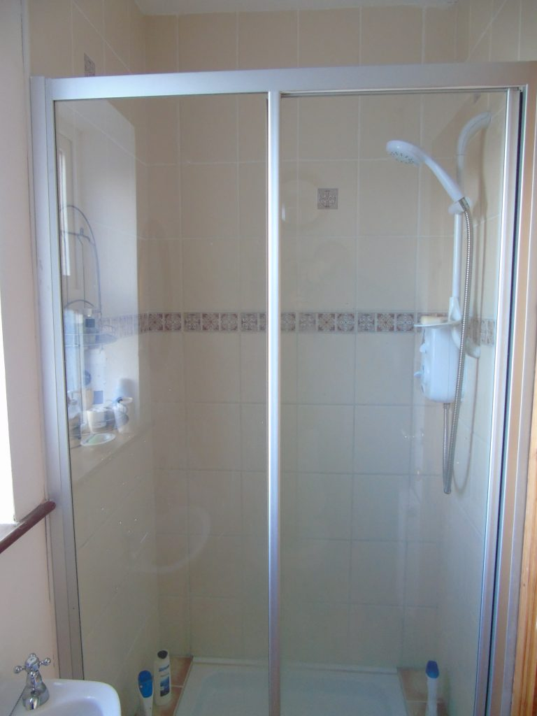 The Ensuite Shower to Bedroom 1 in Holiday Cottage Heather Cottage, All Bedrooms Ground Floor.