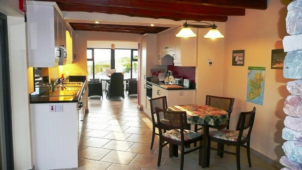 A Grá mo Croí, Kitchen with Sea and Mountain Views, Rent a Cottage in Ireland along the Ring of Kerry