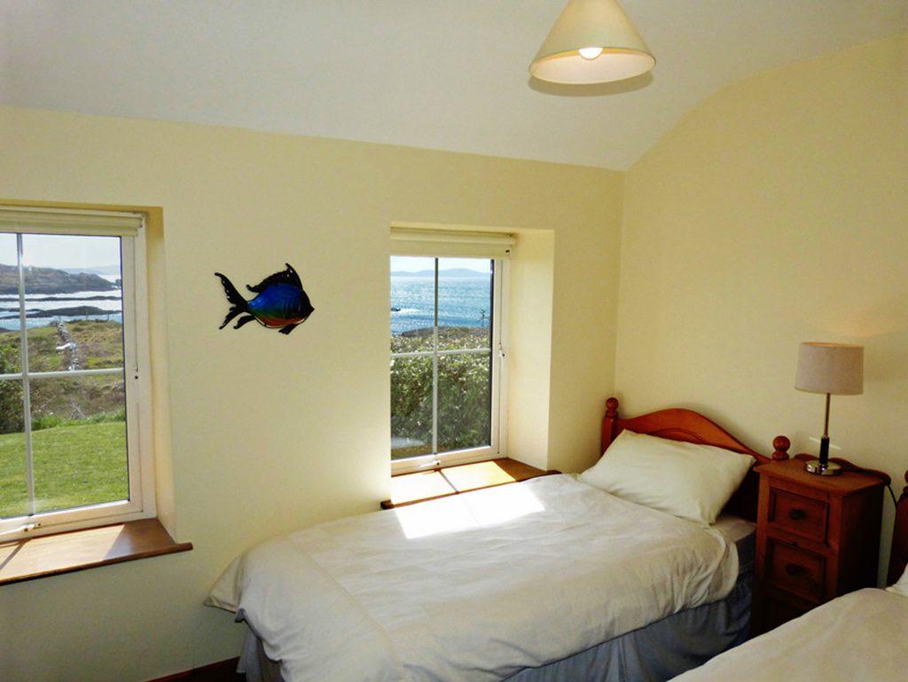 Ferienhaus mit Meerblick, Kerry, Caherdaniel, Irland, Derrynane Haven Schlafzimmer 1, Ferienhäuser mit Meerblick mieten in Irland - Cottages mit Seeblick mieten entlang des Ring of Kerry in Irland