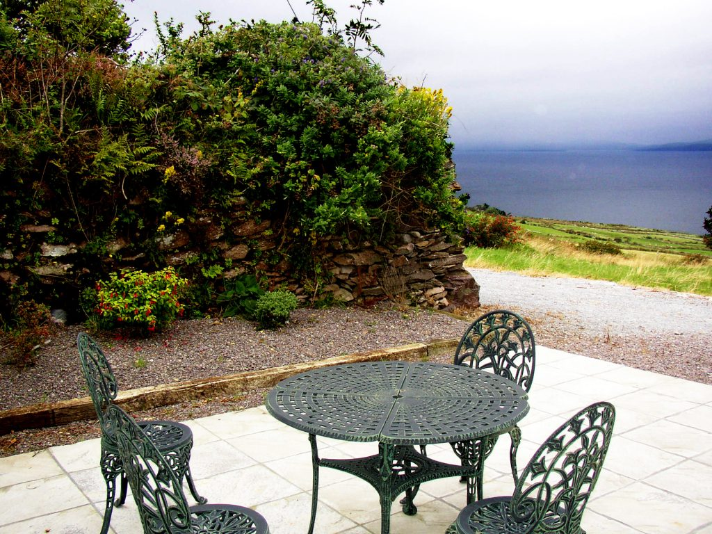 Roads Cottage, Patio, Rent an Irish Cottage with Sea View along the Wild Atlantic Way in Kerry