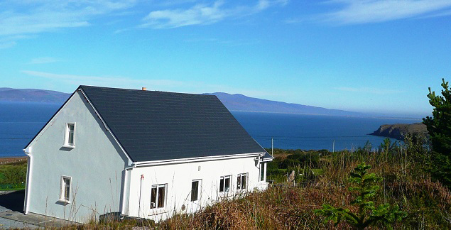 St. Ann's, House with Sea and Mountain Views from Above 2. Rent an Irish Cottage with Sea View along the Wild Atlantic Way in Kerry from www.fir-darrig.net. Rent a Holiday Home with Seaview in Ireland along the Ring of Kerry.