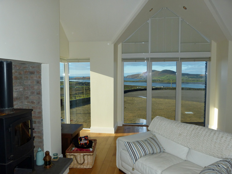 Ferienhaus, Kerry, Irland, Holiday Home, Kerry, Ireland, Atlantic Dreams 01, Living Room with Sea View, Pict. 2, Holiday Home with Sea and Mountain Views for Rent in Ireland along the Ring of Kerry, VRBO
