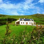 Chapel Cross 01, from the gate. Rent an Irish Holiday Home with Sea View along the Wild Atlantic Way in Kerry, Rent a Cottage with Seaview in Ireland along the Ring of Kerry.