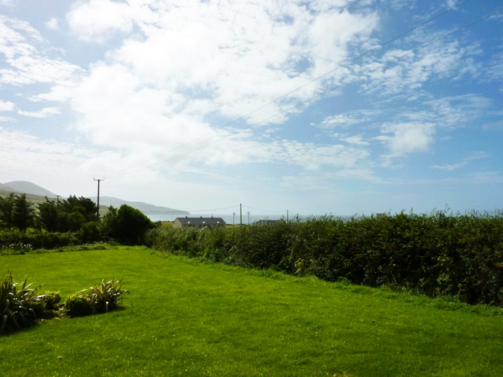 Chapel Cross, View from the house. Rent an Irish Holiday Home with Sea View along the Wild Atlantic Way in Kerry, Rent a Cottage with Seaview in Ireland along the Ring of Kerry.