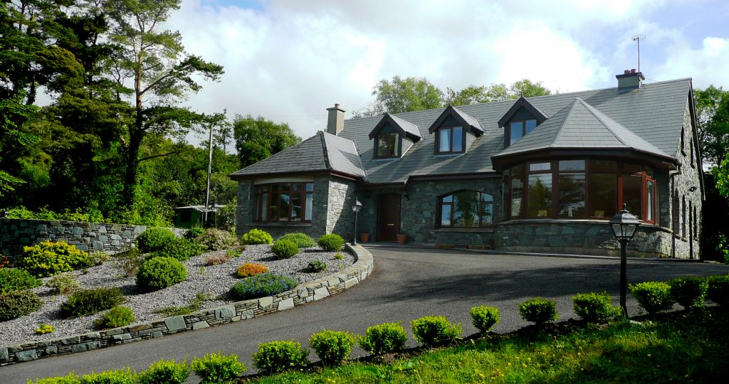 Holiday Home, Kerry, Ireland, Dellwood Lodge 01, Front Elevation, Rent an Irish Cottage with Sea View along the Wild Atlantic Way in Kerry, VRBO