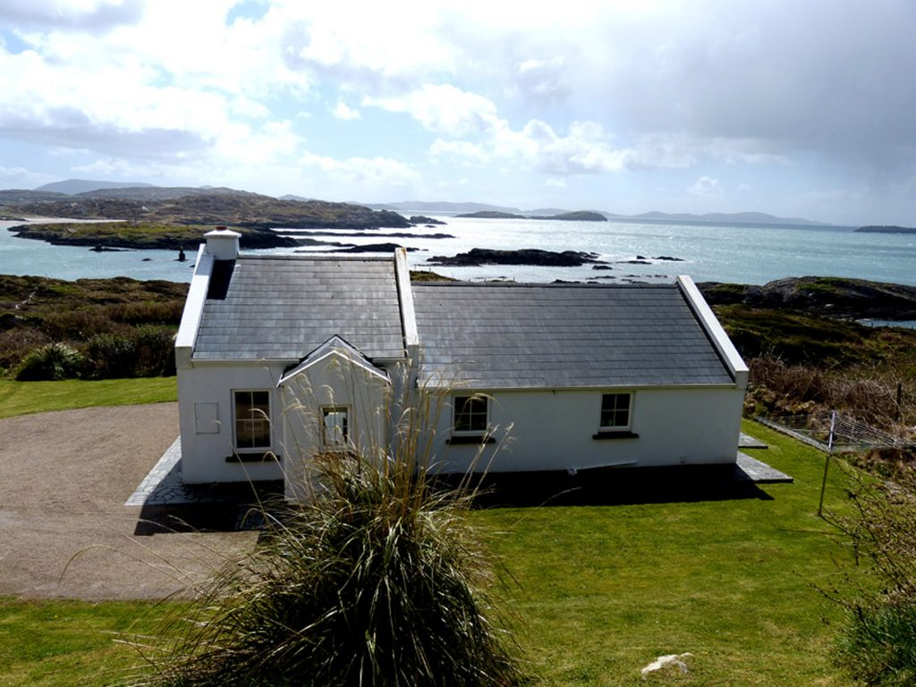 Holiday Home, Kerry, Ireland, Derrynane Haven 02, House with Sea View, Front Elevation, Pict. 1, Rent an Irish Cottage with Sea View along the Wild Atlantic Way in Kerry