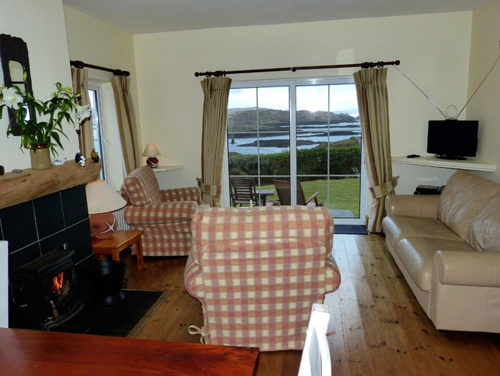 Holiday Home, Kerry, Ireland, Derrynane Haven 04, Living Room with Sea View, Pict. 1, Rent an Irish Cottage with Sea View along the Wild Atlantic Way in Kerry
