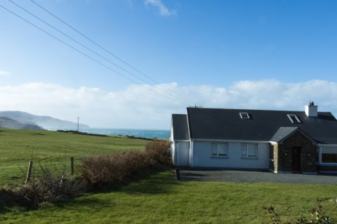 Tig na Cille, Front Elevation. Rent an Irish Cottage with Sea View along the Wild Atlantic Way in Kerry from www.fir-darrig.net. Rent a Holiday Home with Seaview in Ireland along the Ring of Kerry.